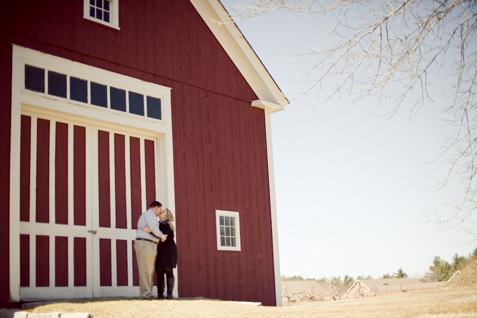 couple in front of old barn