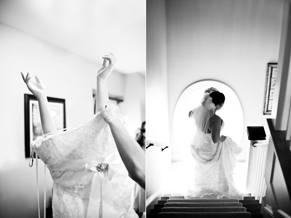 bride getting ready and walking down stairs