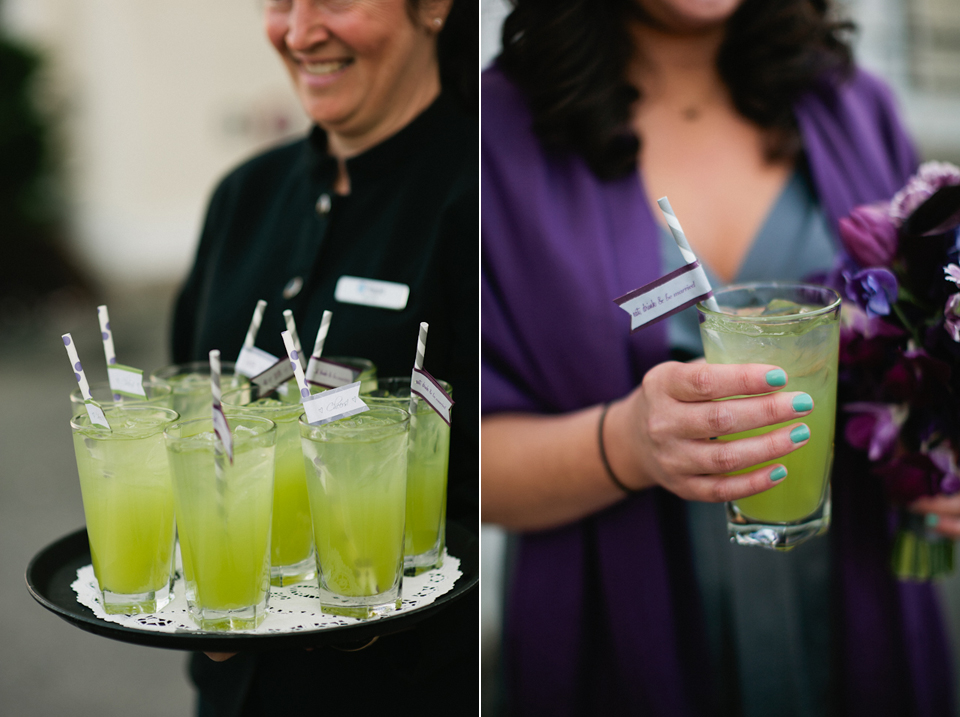 """green monster"" signature cocktails with paper straws"