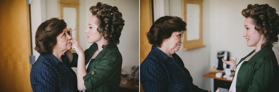 bride putting eyeliner on grandmother