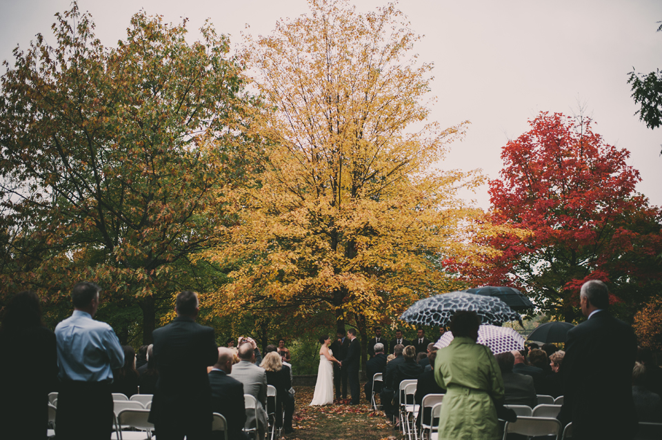 fall wedding ceremony in landry park