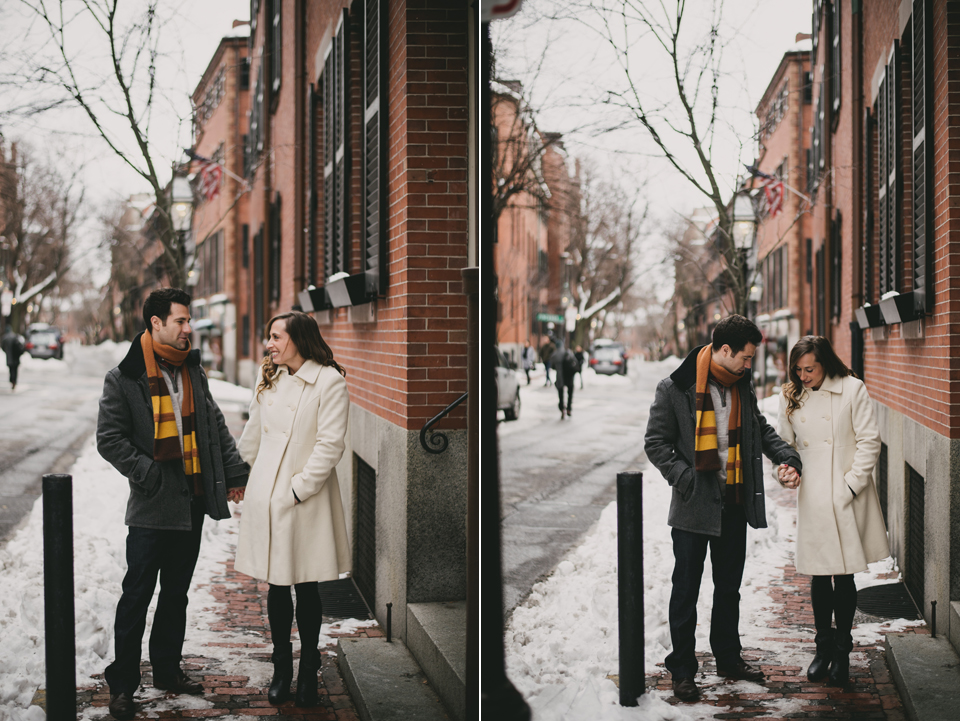 snowy beacon hill engagement session winter