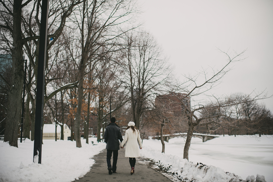 snowy boston engagement session
