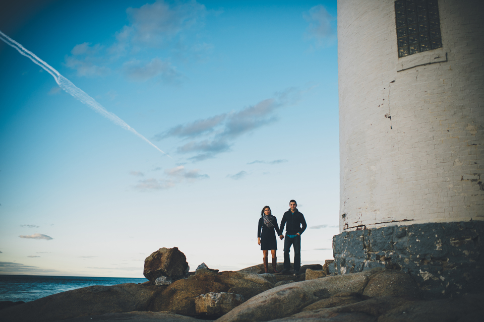 Lighthouse beach engagement session