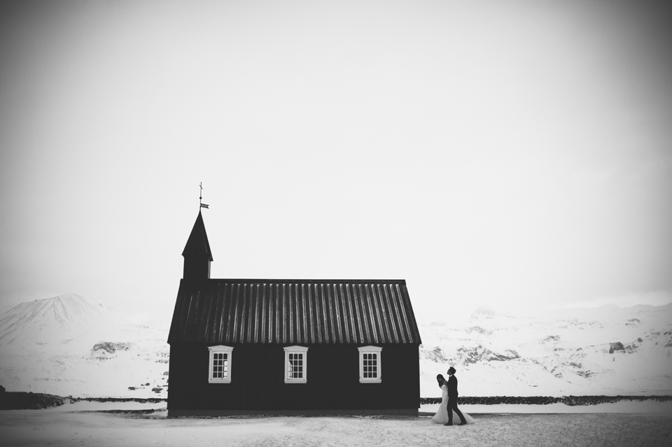 iceland little black church wedding