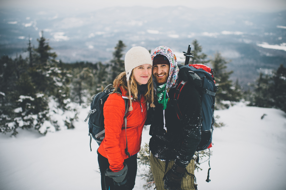 mt kearsarge snowshoeing engagement session