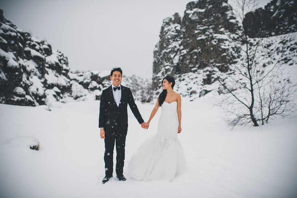 snowy icelandic winter wedding