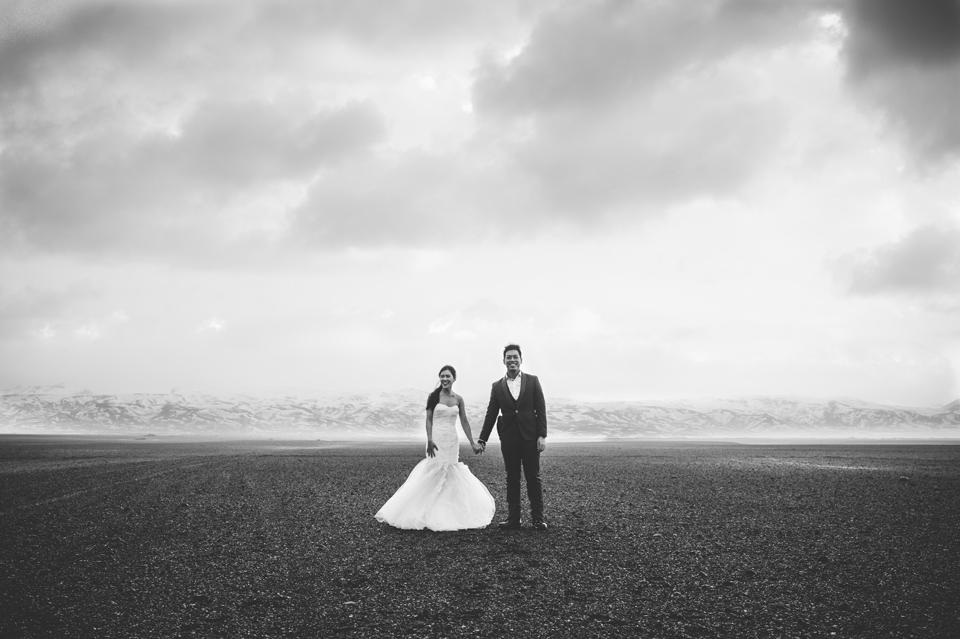 ash field wedding portraits iceland Eyjafjallajökull