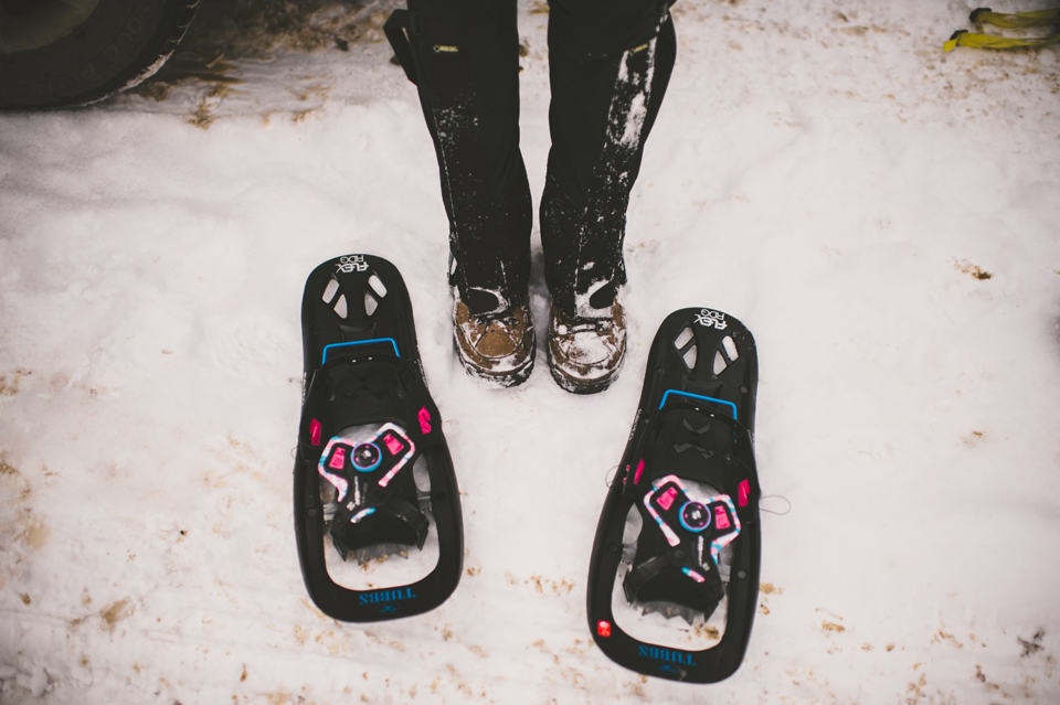 snowshoeing engagement session