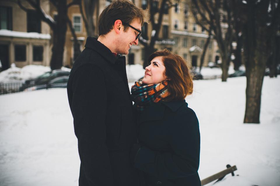 Boston Snow winter engagement session