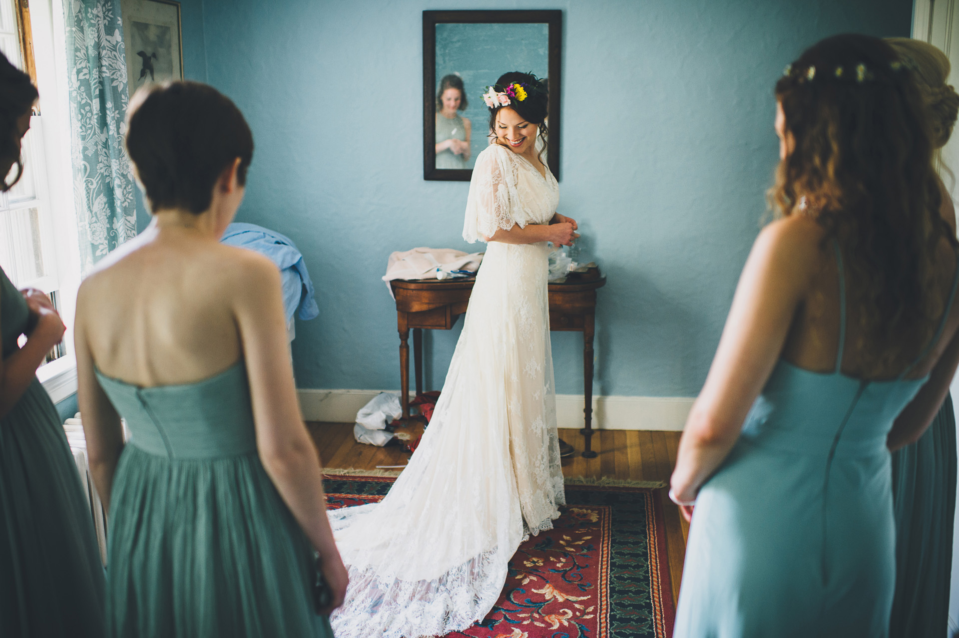 bride getting ready at the overbrook house