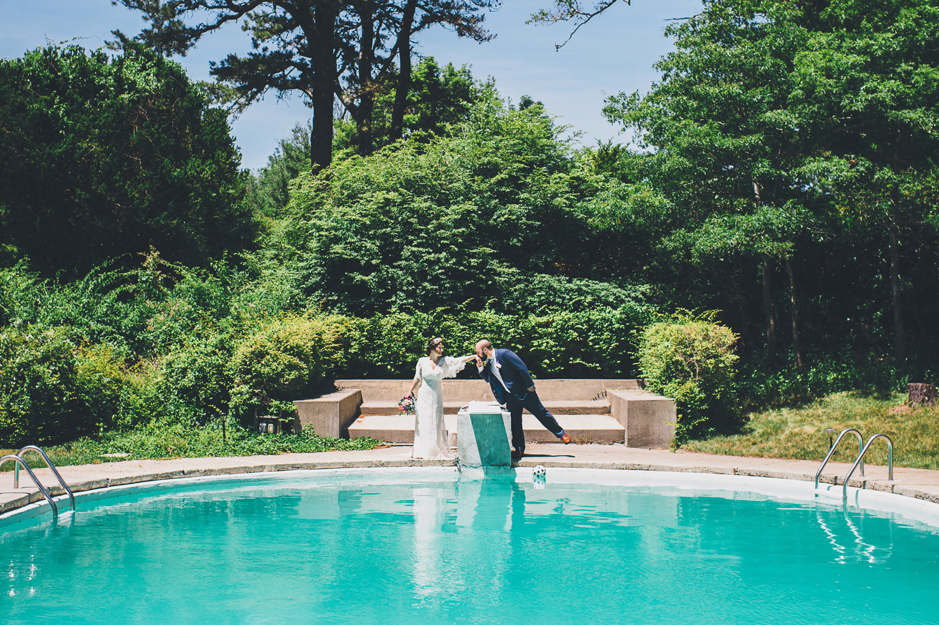 pool wedding portraits
